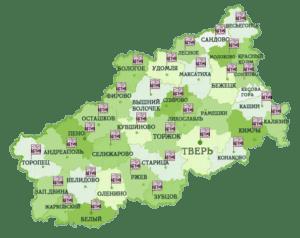 Карта филиалов БТИ в Твери и Тверской области